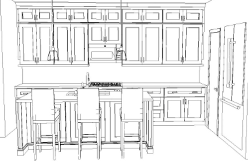 Galley Kitchen Plan with Island Complete Package $ 14,375