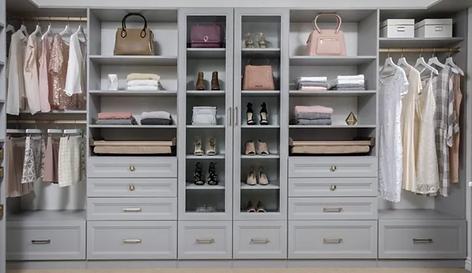 Grey Shaker closet with glass doors