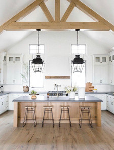 Kitchen with 2 tone woods