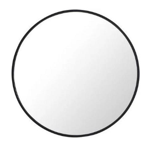 Black Round 28 Inch Metal Frame Mirror