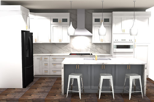 L Shaped Kitchen Plan with island Complete Package $ 25,999