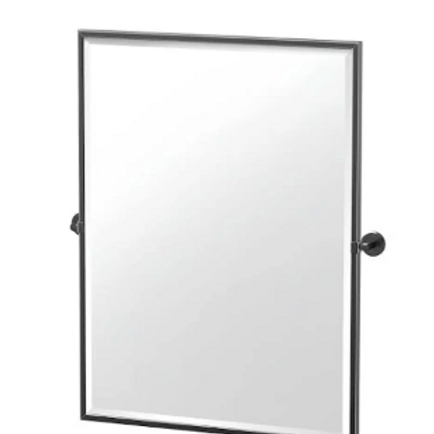 Framed Rectangle Mirror, 32.5 inch, Matte Black