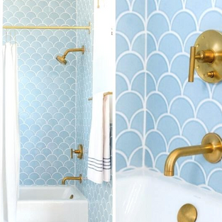 Scalloped tile with Gold Kids bath