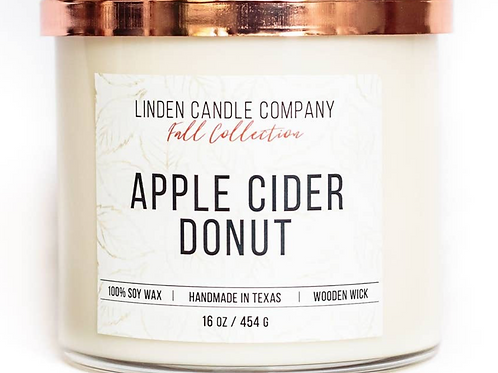 16oz Apple Cider Donut Fall Candle, Autumn Candle