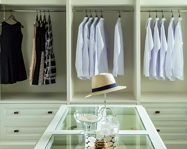 Closet with glass top island