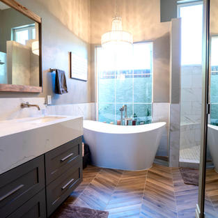 Master Bathroom with Chevron Floors