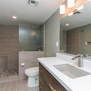 Spa like Guest Bath with wood tile on shower walls