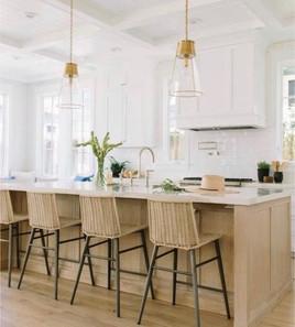 White and wood tone kitchen