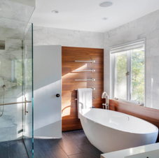 Modern bath with a touch of traditional