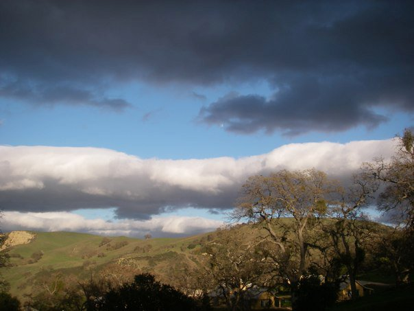 clouds over California hills