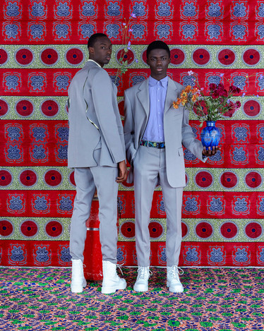 Louis Vuitton Fashion Shoot in Morocco - Grey Suits with Flowers