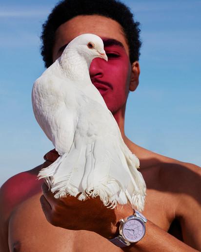 Louis Vuitton - man with bird - Morocco fashion production