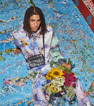 Louis Vuitton production - man with flowers