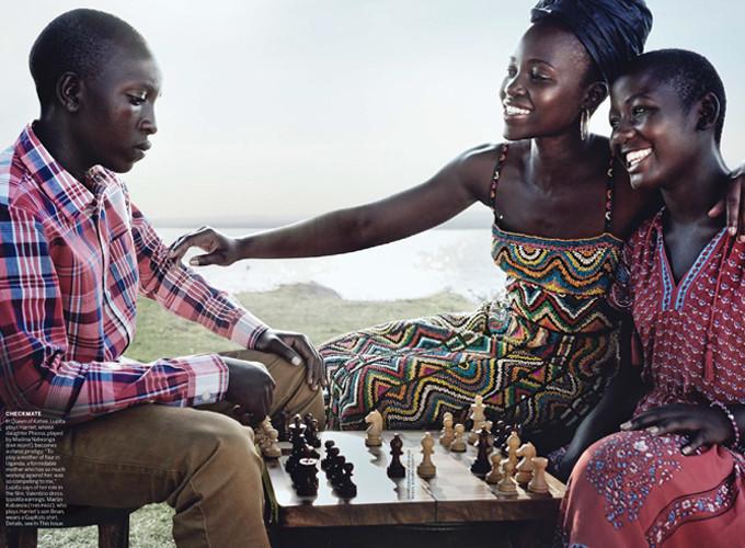Lupita Nyong'o playing chess in Kenya with US Vogue Magazine