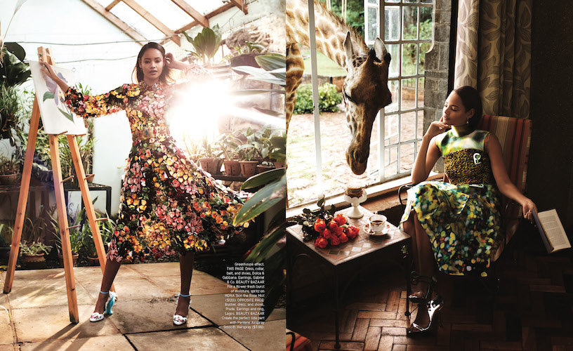 The Harpers Bazaar Giraffe Manor photoshoot was produced in the Maasai Mara National Reserve.