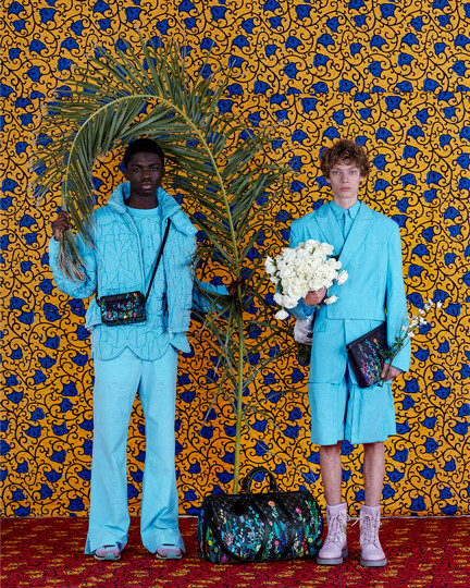 Louis Vuitton photography production - blue suits