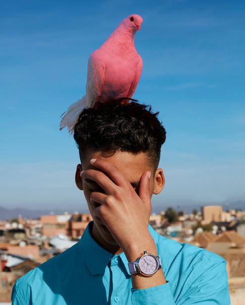 Louis Vuitton fashion photography - pink bird in Morocco
