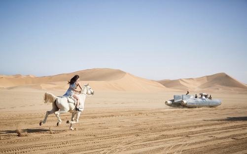 Paco Rabanne campaign shot in the Namib Desert