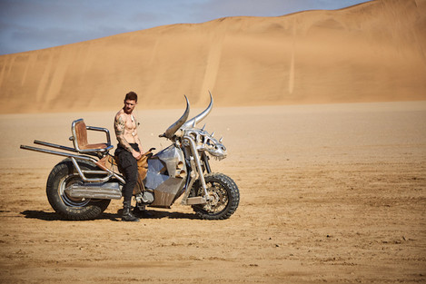 Paco Rabanne photography production inspired by Mad Max