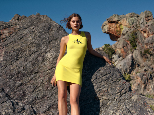 Calvin Klein - yellow dress - fashion shoot in Cape Town