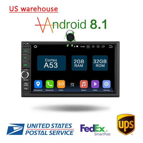 "7"" Android 8.1 Quad 2+32GB InDash 2-Din Car Stereo Radio WiFi Bluetooth"