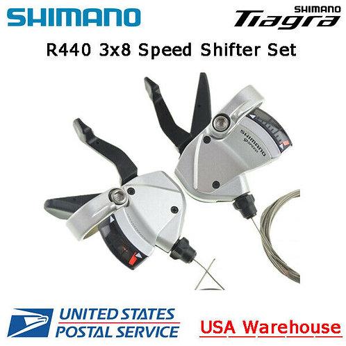 Shimano Tiagra SL-R440 R441 3x8 Speed Flat Bar Left + Right Shifter Set ROAD