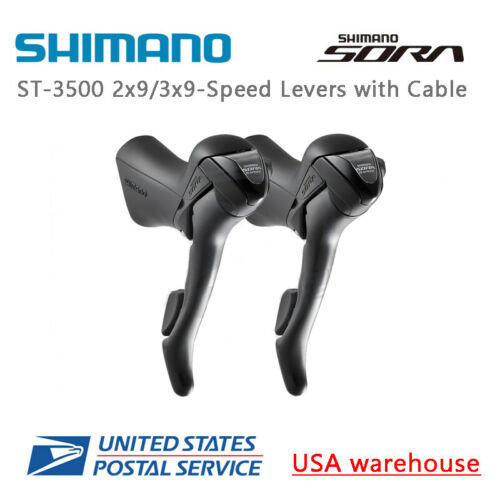 Shimano SORA ST-3500 Shift Brake Lever 2x9 Speed Left Pair w// Cables Right