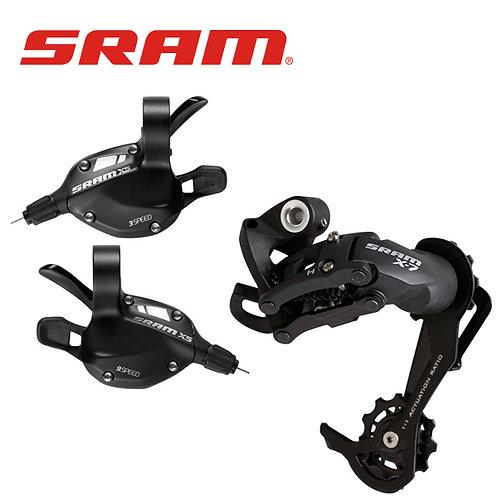 SRAM X5 3*9 Shifter X7 9 Speed Rear Derailleur Long / Medium Cage Black
