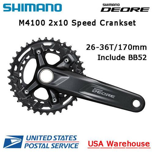 Shimano Deore FC-M4100 2x10 Speed 26-36T 170mm Crankset