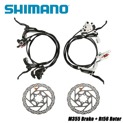 Shimano BR BL M355 Hydraulic Disc Brake Set Front & Rear Black White G3 HS1 RT56
