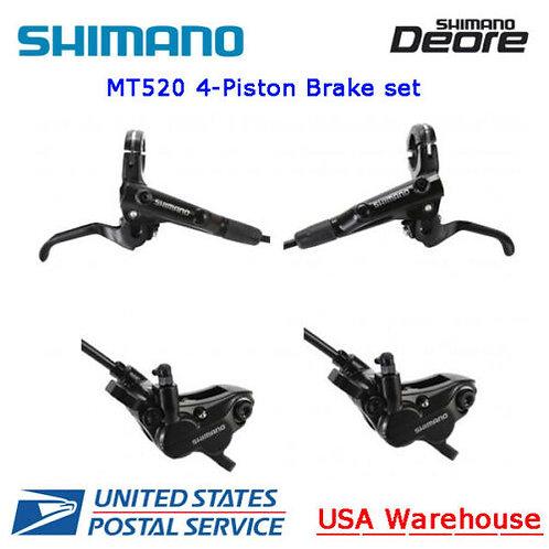 New SHIMANO Deore BR-MT520 BL-MT501 4-Piston Hydraulic Disc Brake Set F&R (OE)