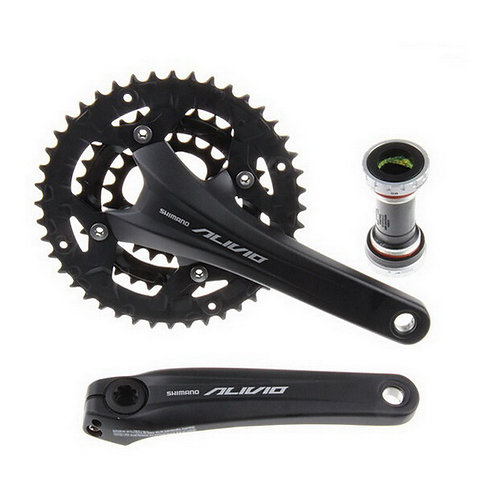 Shimano Alivio M4060 Crankset Mountain Bike 9 Speed Black with Bottom Bracket