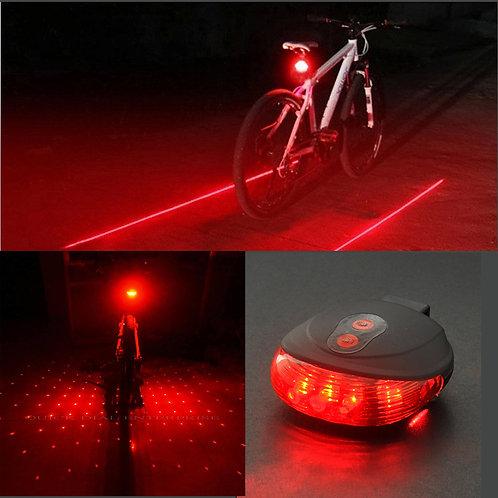 Cycling Red Blue 5 LED + 2 Laser Line / Dot Tail Light Bike Flashing Lights