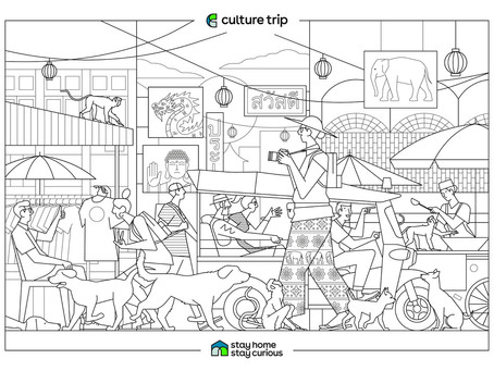 GLOBAL VIBE: Travel-Based Coloring Pages
