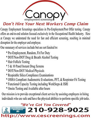 Canopy emploment screening 2 San Antonio