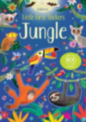Reusable children's animal nature sticker book Jungle by Gareth Lucas, Usborne Little First Stickers