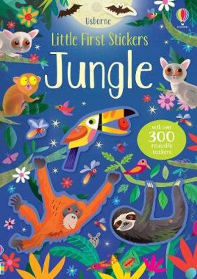 Reusable children's animal nature sticker book Jungle by Gareth Lucas, Usborne Little First Stickers