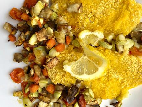 Merluzzo croccante con verdure al forno