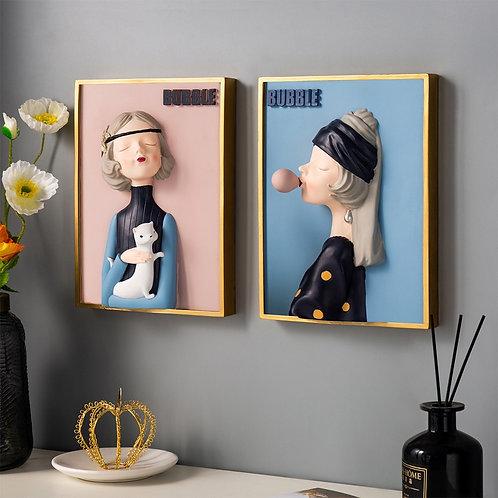 3D Girl Portrait Wall  Art Decor