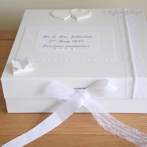 Personalised Large White Wedding Keepsake Box