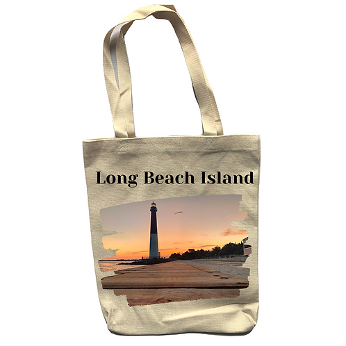 Long Beach Island Linen Tote Bag - Double Sided