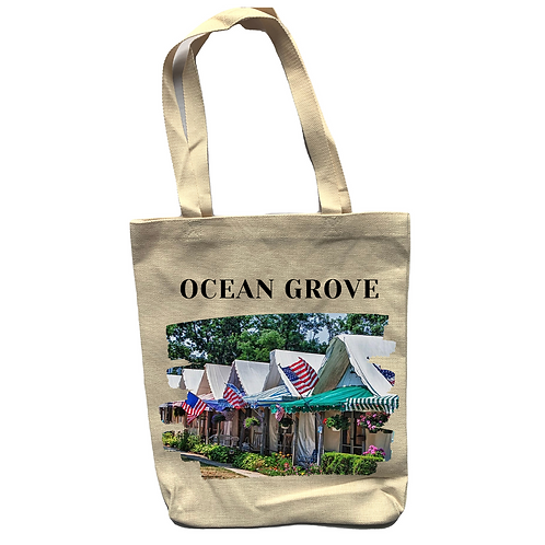 Ocean Grove Tents Linen Tote Bag - Double Sided