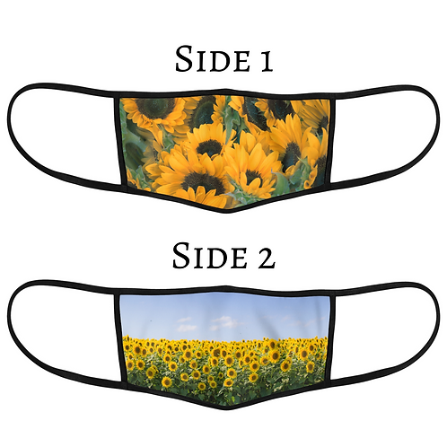 NEW Reversible 3-Layer Face Mask - Sunflower Fields