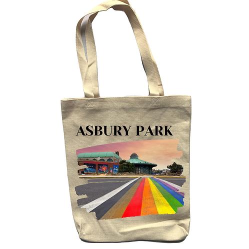 Asbury Park Rainbow Linen Tote Bag - Double Sided
