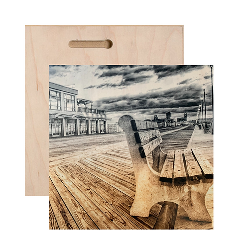 Asbury Park Bench Print On Wood