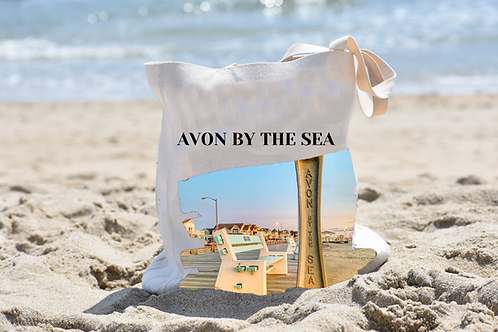 Avon-By-The-Sea Linen Tote Bag - Double Sided -