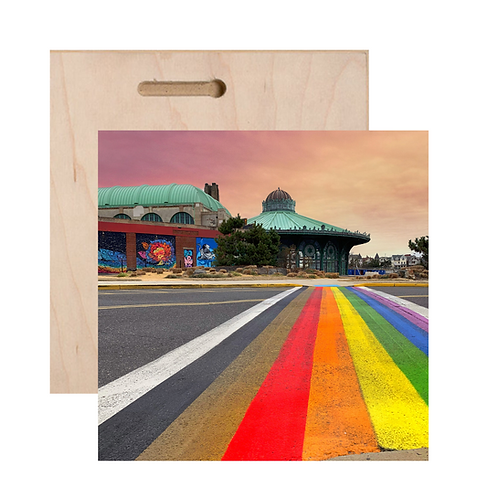 Rainbow Walkway Print On Wood