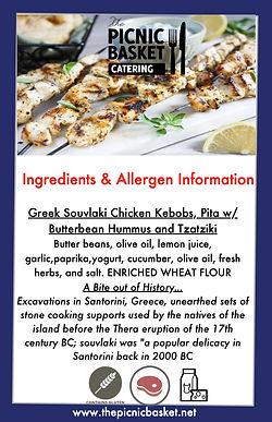 Greek Souvlaki Chicken Kebobs, Pita w: B