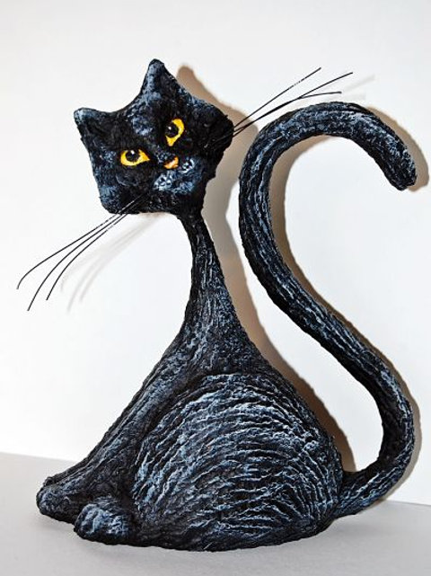 Gato negro con texturas