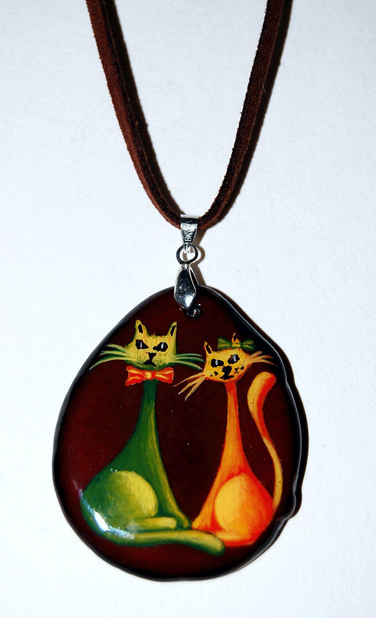 Centro gato verde y naranja